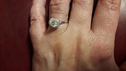 14K fehérarany brill koktélgyűrű