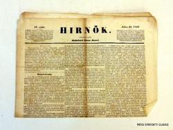1844 július 26  /  HIRNŐK  /  RÉGI EREDETI ÚJSÁG Szs.:  6805