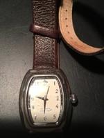 Ezüst óra (Silpada) barna bőr szíjjal