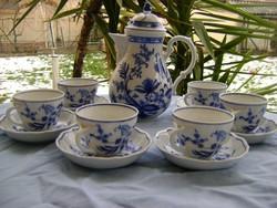 Antik meisseni MÍNÖSÉGŰ? 6 személyes kávés készlet 13 db XIX.sz végéről VITRIN ÁLLAPOTBAN