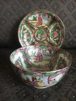 Kézzel festett Canton mintás kínai leveses tál és alj