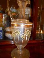 Antik zománcfestett hutaüveg karaffa