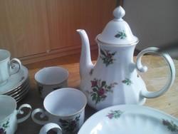 Vadrózsás porcelán kávés készlet