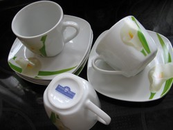 Kála virágos VAN WELL WELLCO DESIGN kávés készlet