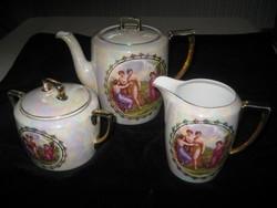 Altwien  teás  , kiöntők  3 db  , szép irrizáló  színben  , fogója kissé kopott