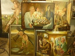5 db szürrealista extra méretű olaj vászon festmény