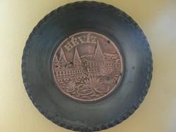 Hévíz retro fém falitányér