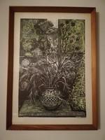 Bordás Ferenc grafikus: vadvirágos csendélet xilográfia/fametszet üvegezett keretben