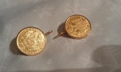 Ferenc József pénz fülbevaló arany