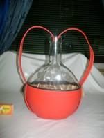 Retro boros üveg, palack műbőr díszítéssel