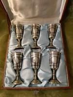 Ezüst niellós vodkás / pálinkás pohár garnitúra