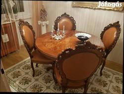 Étkezőasztal 4 db bőr székkel