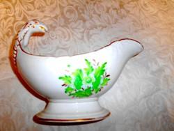 Különleges madárformájú fogóval antik porcelán mártásos tál