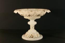 1880. Biedermeier Aranyozott Kalcedon Üveg Talpas Kínáló Tál 30x24cm Asztalközép Aufsatz Gyümölcsös