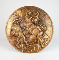 0U435 Kocsmazenészek bronzírozott falidísz relief