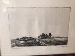 Barcsay Jenő tájkép: Alföldi táj rézkarc, jelzett, aukcionált, kerettel együtt kerül értékesítésre