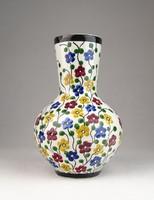0U590 Antik városlődi majolika váza 17.3 cm