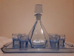 Kék üveges  likőrös készlet