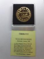 Világ Bélyegcsodái  Bermuda 1 penny 1849 aranyozott bélyegérem + certi PP