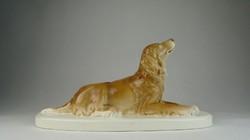 0U641 Régi Gránit kerámia fekvő kutya szobor