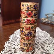 Kézi festésű szalvéta-gyűrü (6 db) - tartójával
