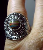 925 ezüst gyűrű, 19,2/60,3 mm,kalszilika drágakővel
