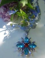 Gyönyörű  kristály köves ezüst medál + lánc