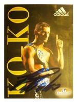 """Kovács """"Koko"""" István autogram, dedikált adidas fotóképeslap"""