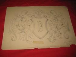 Berán B.    1881 Arad  .   családi címer  terve   ceruza rajz