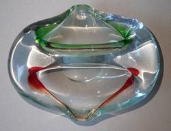 Régi retro Bohémia cseh csiszolt színes művészeti üveg hamutál