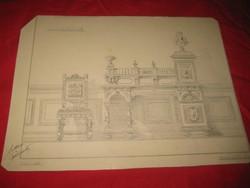 Berán B.    1881 Arad  .terv rajz  ,  író asztal és szék  33x25 cm, ceruza   rajz
