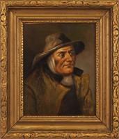 Ismeretlen festő, S MOLA jelzéssel: Kalapos férfi, 19. század vége