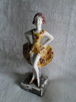Art deco táncosnő, kézzel festett antik gipsz szobor  15 cm