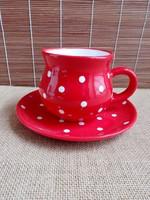 Piros pöttyös reggeliző szett - fél literes kerámia csupor tányérral