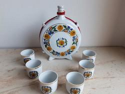 Hollóházi porcelán butella szett: 6db pohár, kupica és 1db butella