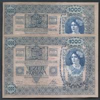 2 db 1000 Korona 1902 UNC Sorszámkövető Így nagyon RITKA  KN 10350