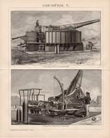 Fegyverek V. és IV., VI., egyszínű nyomat 1893, német, eredeti, ágyú, gépfegyver, gyorstüzelő, régi