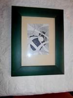Tusrajz, szignált, keretezett 28 cm X 22  cm (kerettel)