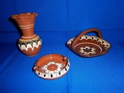Pávaszem mintás kerámia váza, füles kosár és hamutál hibátlan állapotban