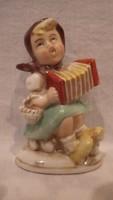 Germany 20495 antik porcelán , harmonikázó lány szobor , figura