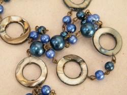 Abalon kagyló díszes kék nyaklánc