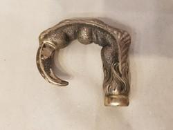Antik ezüst sas karom sétapálca, sétabot vég