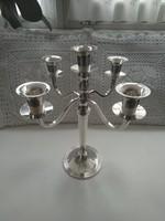 Ötágú ezüstözött gyertyatartó