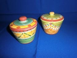2 db kézzel festett kerámia/majolika cukor, cukorka tartó, bonbonier tetővel