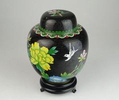 0U709 Régi fekete keleti tűzzománc váza 14 cm
