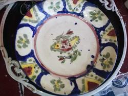 Antik Ónmázas keménycserép tányér 19sz.