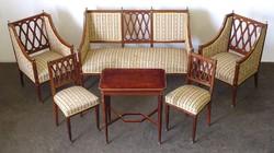 0U606 Antik empire rézveretes ülőgarnitúra 6 darab