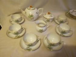 ÚJ Herendi hecsedli, csipkebogyó mintás porcelán teáskészlet, teás készlet
