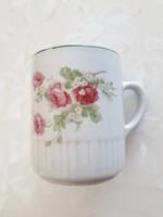 Régi Zsolnay porcelán rózsás bögre teásbögre