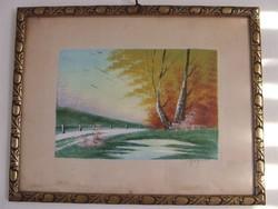 Bognár szignos tájkép,akvarell